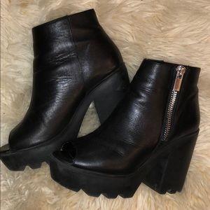 River Island *genuine* leather chunky heel booties